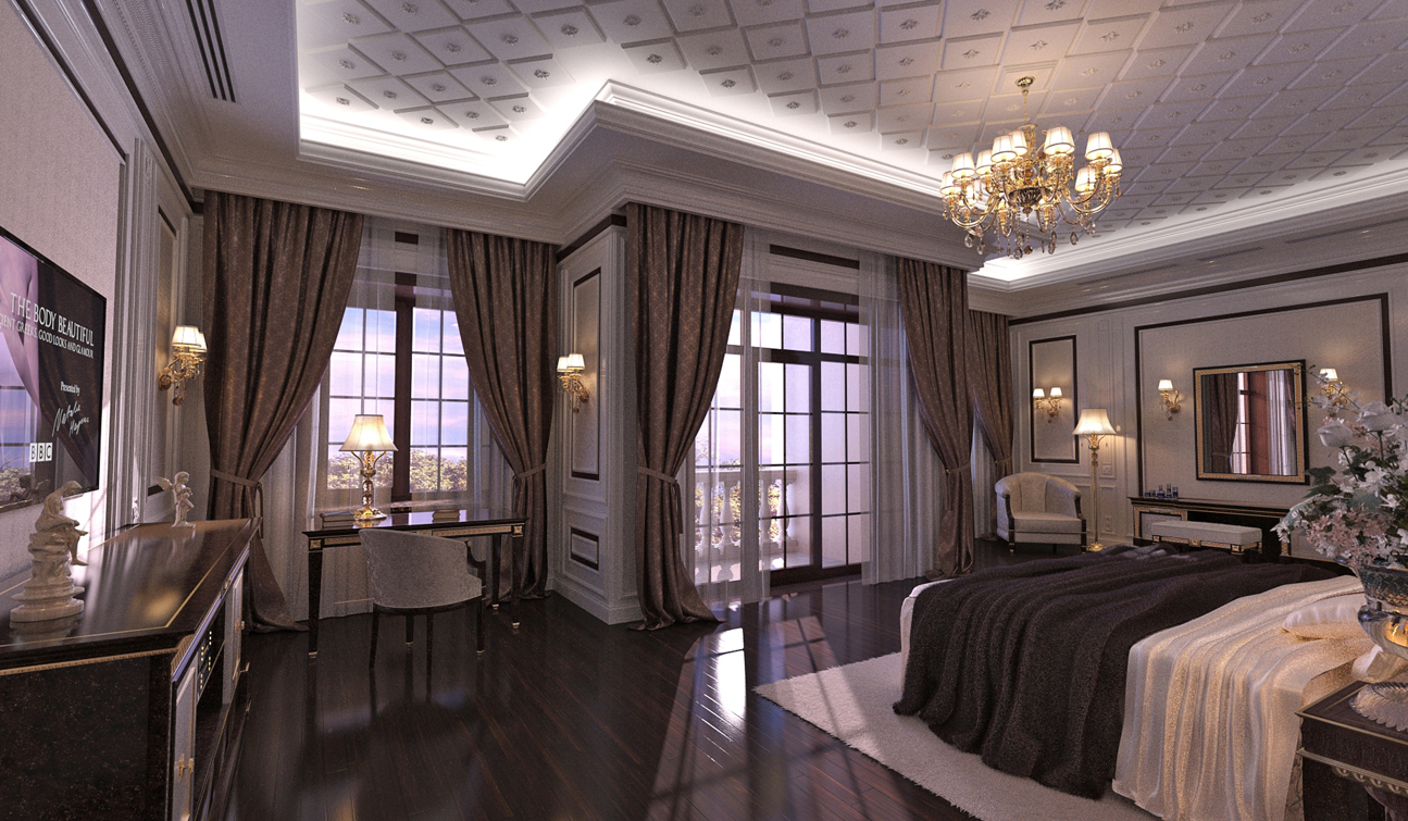 Classic Bedroom interior design in Traditional style in the privat residence